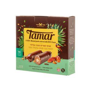 חטיף תמר במילוי חמאת שקד מצופה שוקולד 100%